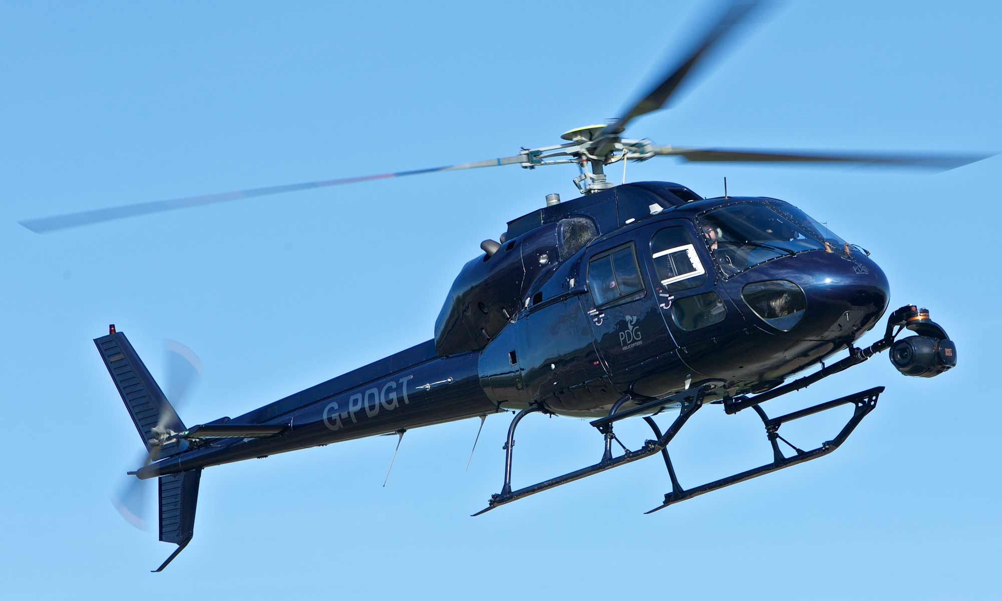 Slow motion aerial filming with Shotover F1 and Phantom Flex 4K mounted on PDG Film Services AS355 F2 helicopter