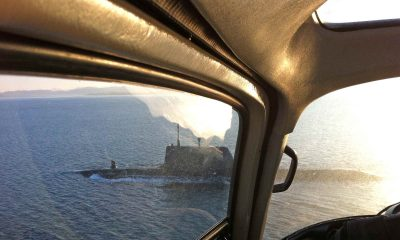 View from the helicopter while aerial filming for the Royal Navy
