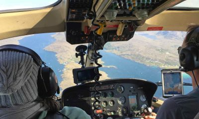 Inside the helicopter during aerial filming the Origin Green TV commercial