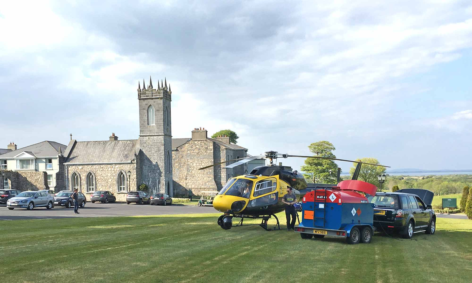 Refuelling the helicopter while aerial filming in Ireland for the Origin Green Commercial