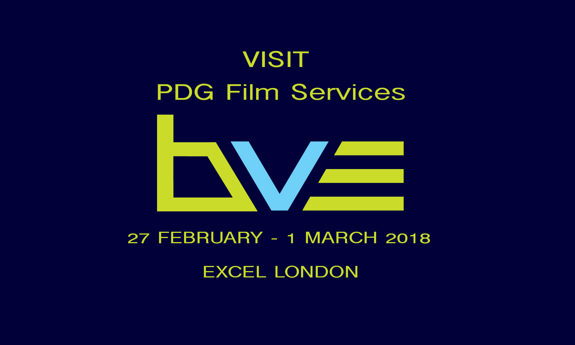Visit PDG Film services at BVE 2018