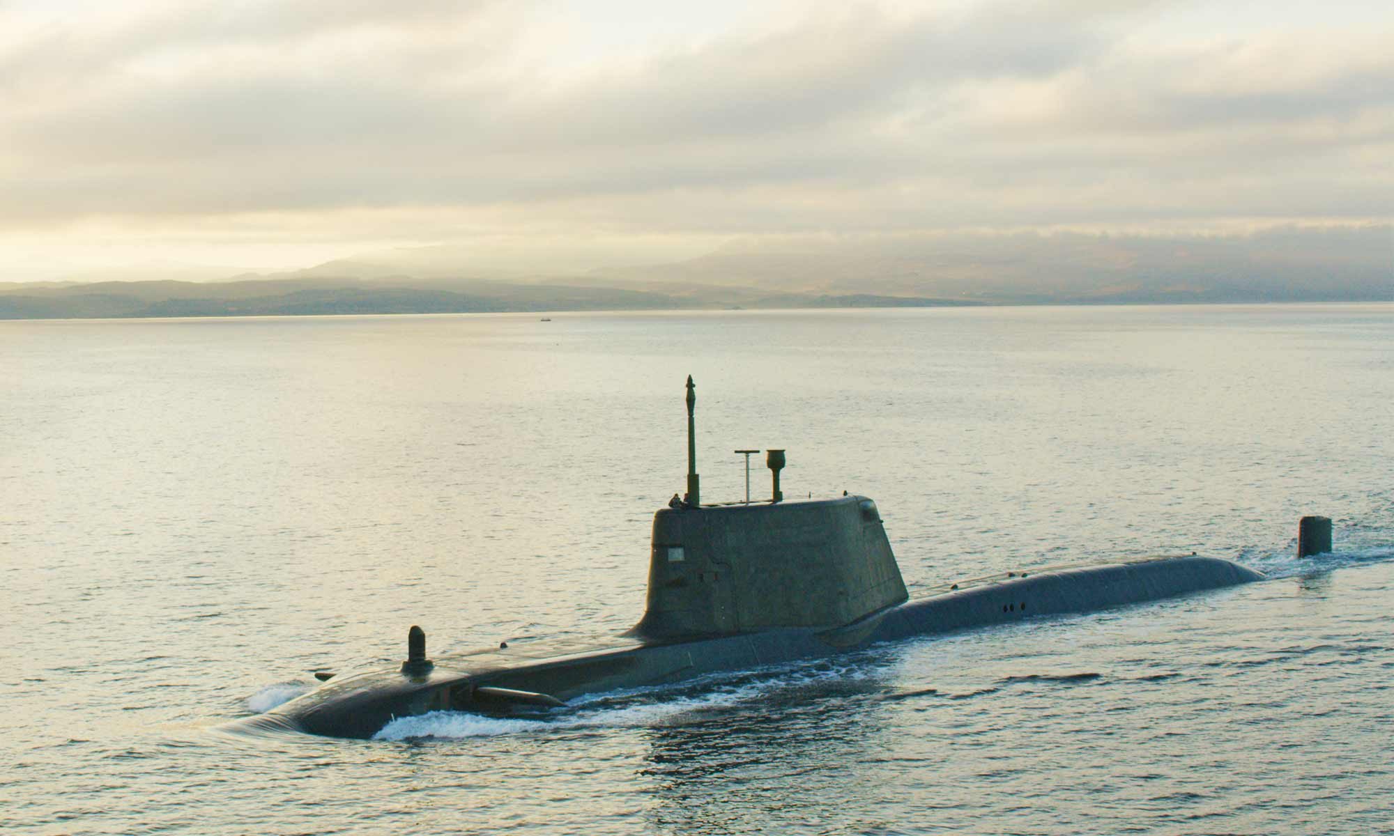 Aerial filming of the submarine HMS Ambush for the Royal Navy