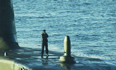 Aerial filming of the submarine HMS Ambush Royal Navy