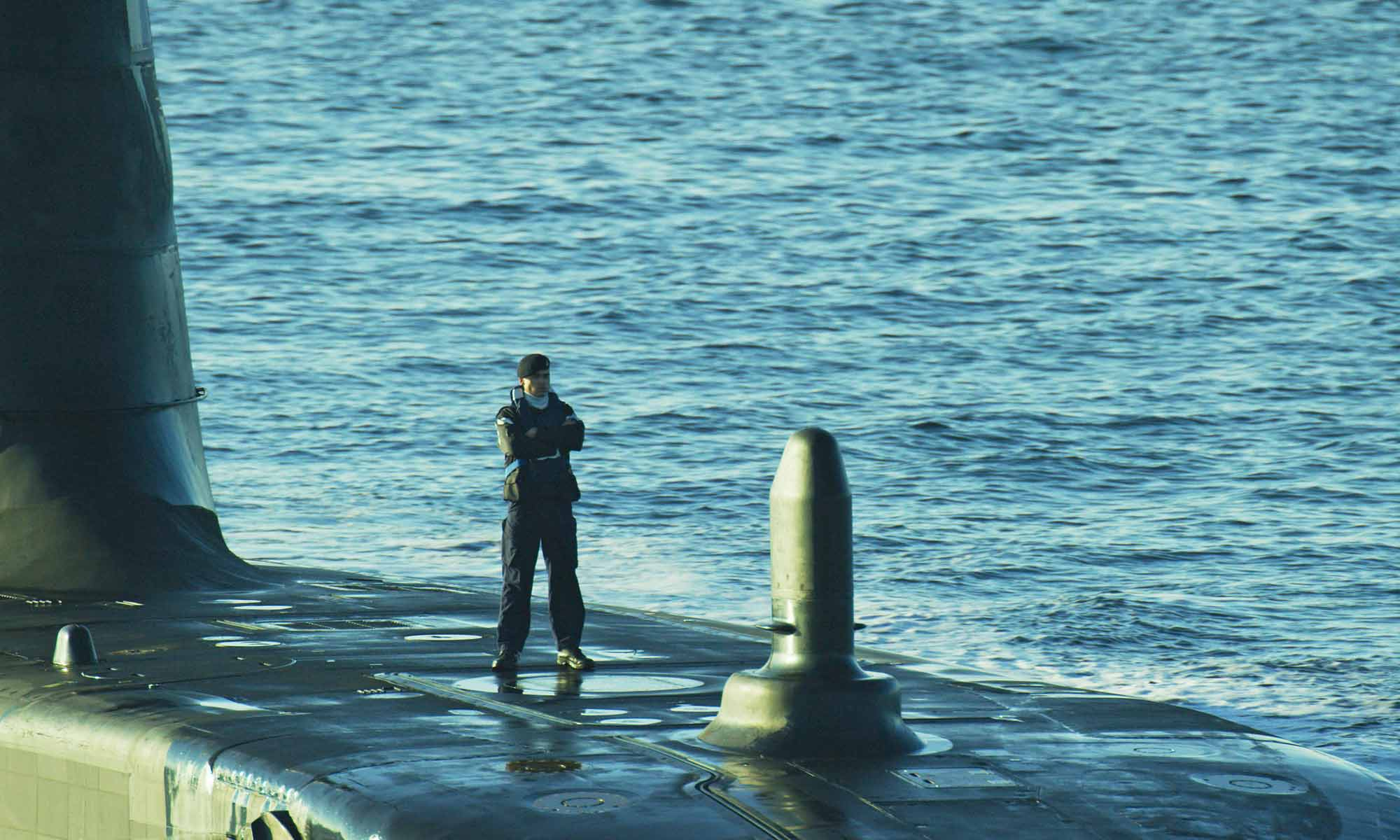 Aerial filming of the submarine HMS Ambush Royal Navy