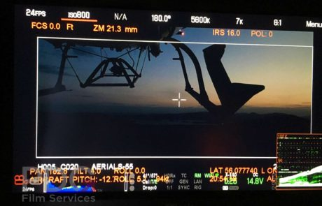Camera operator's view with on-screen display